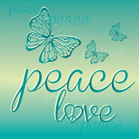 three composed blue butterflies in a gradient background with peace Vector