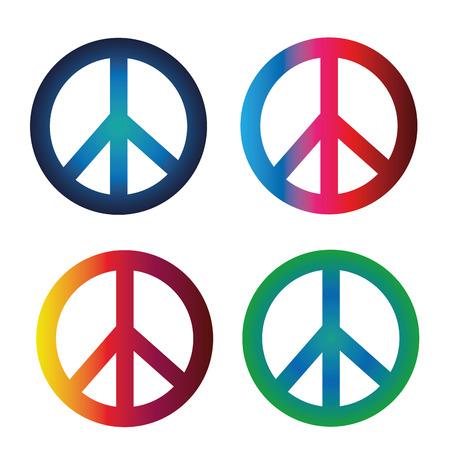 simbolo de paz: cuatro s�mbolos de paz con diferentes colores y degradados Vectores