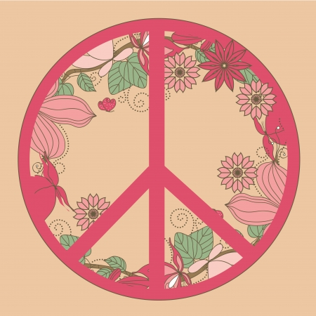 a pink peace symbol with nature growing in its border Vector
