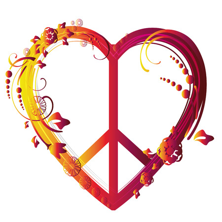 a beautiful colored peace symbol with a heart shape Vector