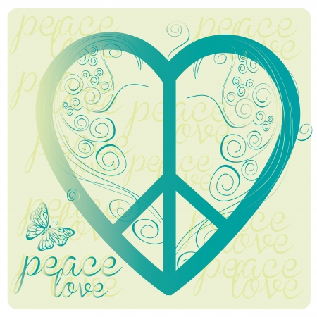 a blue peace symbol as a heart with some text Vector