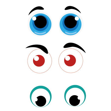 simetry: three different styles of eyes with different colors