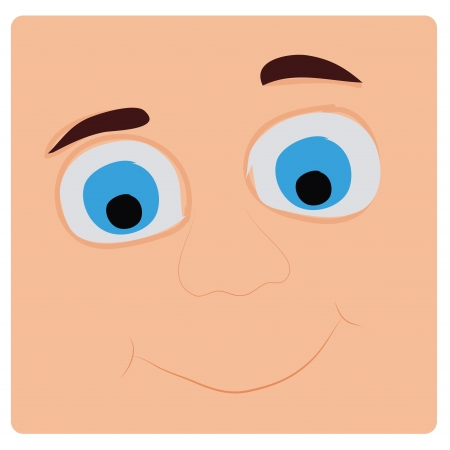 flange: a happy face with big blue eyes