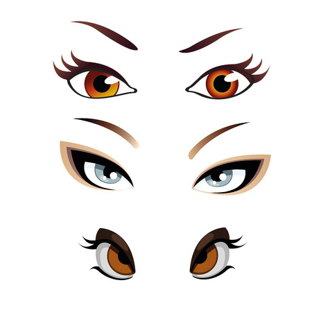 simetry: three different style of eyes with different colors Illustration
