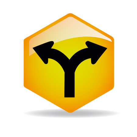 manage transportation: a yellow traffic signal with arrows inside Illustration