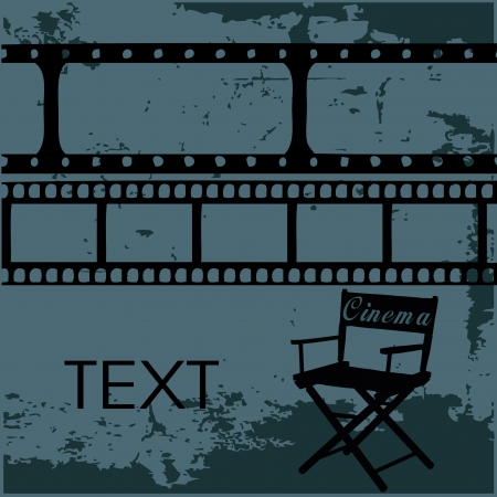 director chair: black silhouettes of a director chair with some negatives above it