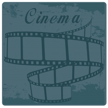 a blue cinemas tape with some text above Illustration