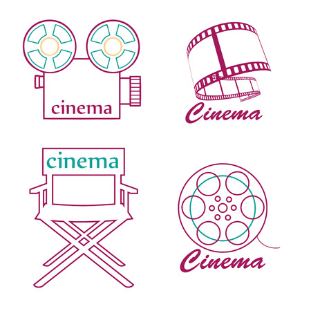 four different cinema's icon with lines and text Vector