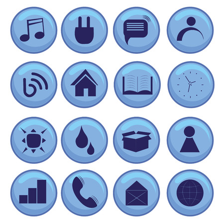 sixteen blue icons for devices and web Vector