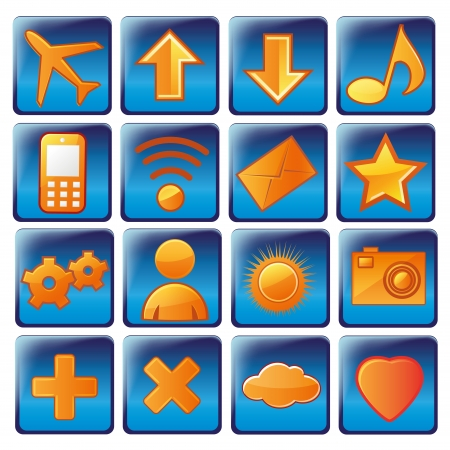 sixteen different and colored icons for devices and web Vector