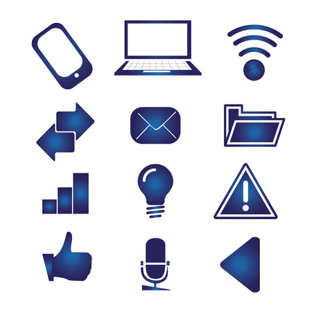 iconography: twelve blue icons for devices and web