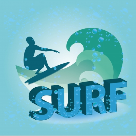 a blue silhouette of a man surinfg with some waves Vector