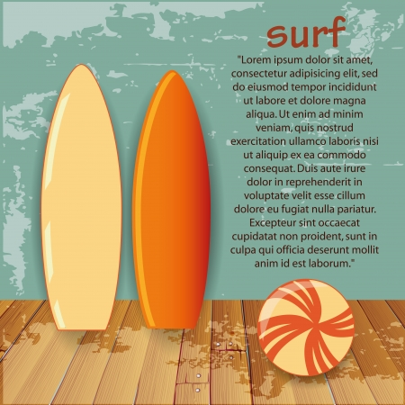 two colored surf tables with some text and a beach ball