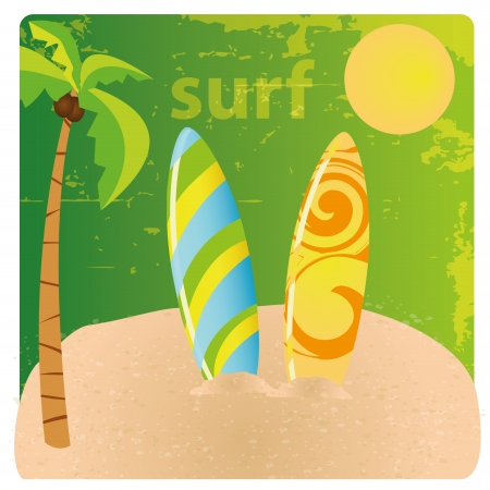 two colored table surfs in the beach Vector