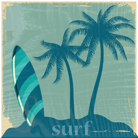 tabla de surf: una tabla de surf azul con algunas palmeras cerca de él