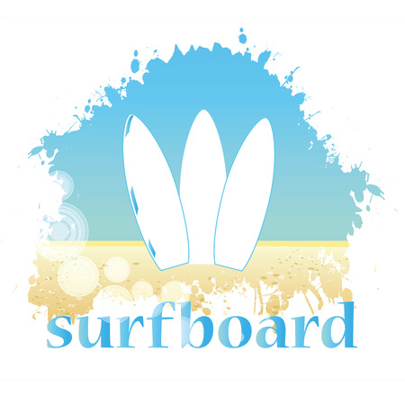 three white surfboards in the sand with the sky as background Vector