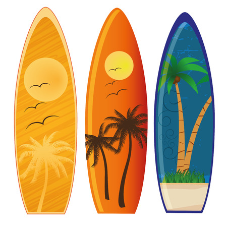 three colored surfboards with different styles and colors