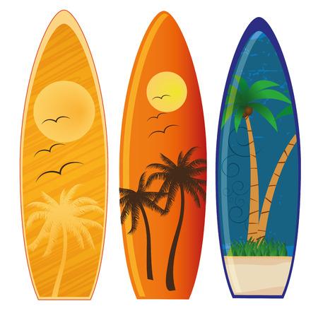 trzy kolorowe deski surfingowe z różnych stylach i kolorach