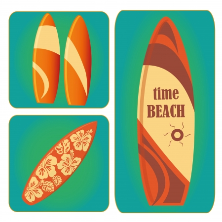 different surfboards with the same color but different styles Vector