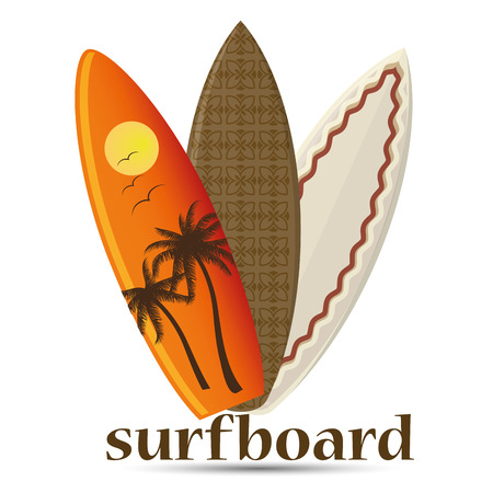 three different surfboards with different colors and styles Vector
