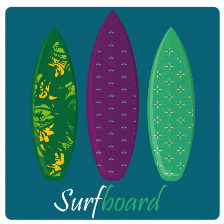 three colored surfboards with different textures and patterns Vector