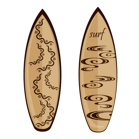 a brown surfboard with flower and waves textures Vector