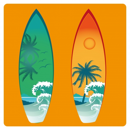 two surfboard with different colors and textures Vectores