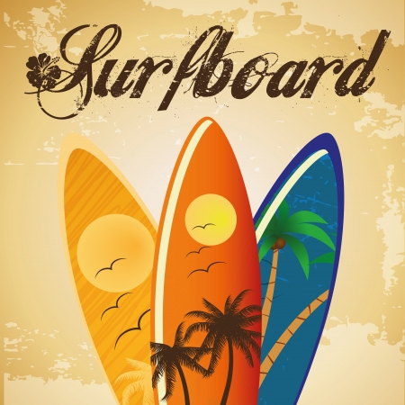 three surfboards with different colors and textures Vector