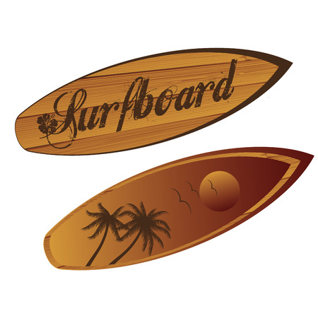 a brown surfboard with text and textures Vector