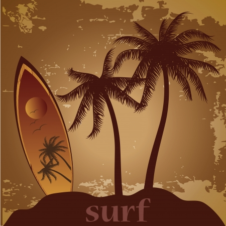 a surfboard with some palms and text near it Vector