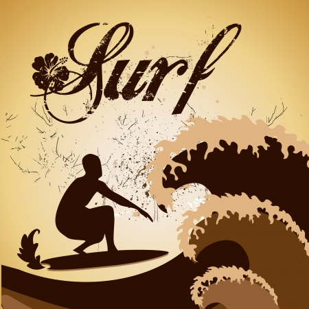 a brown silhouette of a man surfing with some text Vector
