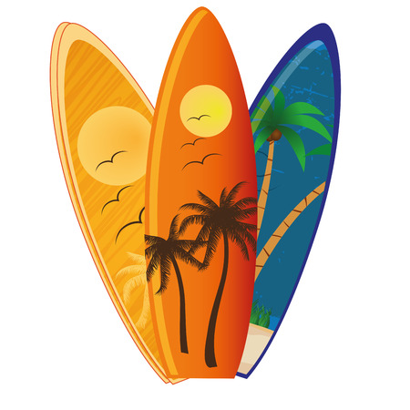 three different surfboards with different textures and colors Иллюстрация
