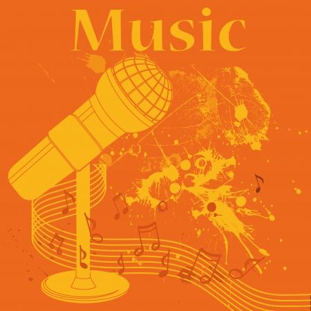 pentagramma musicale: una sagoma gialla di un microfono in un sfondo arancione