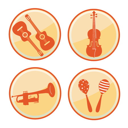 four yellow round icons for musical purposes with some silhouettes Vector