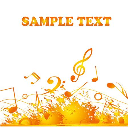 pentagramma musicale: un sacco di note musicali giallo e arancione in sfondo bianco