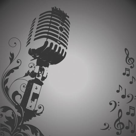pentagramma musicale: una silhouette grigio di un microfono in un gradiente di sfondo