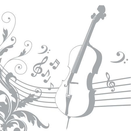 grey silhouette of a violin with a pentagram and music Vector