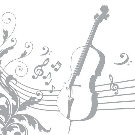 pentagramma musicale: grigio sagoma di un violino con un pentagramma e musica Vettoriali