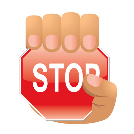 a hand with a stop warning symbol in it Vector