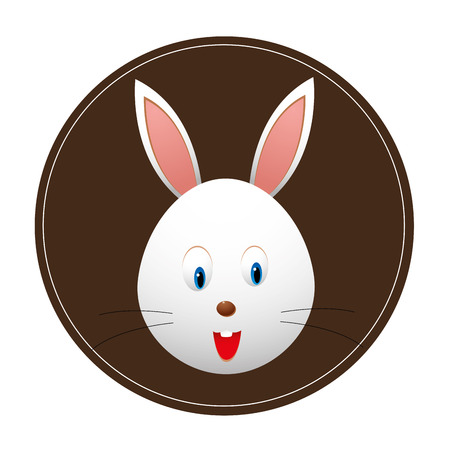 a happy rabbit with a big smile in a brown icon Vector