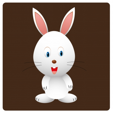 a happy white rabbit with a big smile in brown background Vector