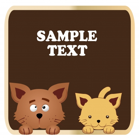 a cat and a dog with some text in brown background Vector