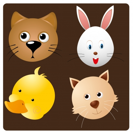 four happy faces of different pets in brown background Vector