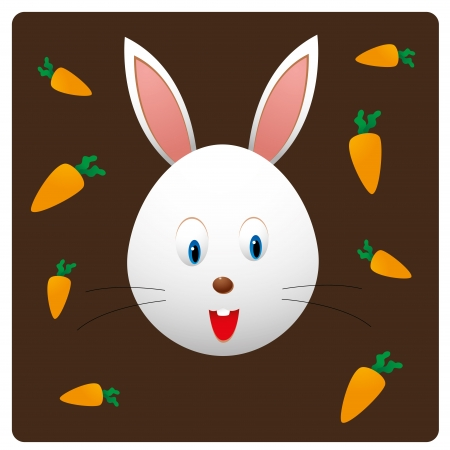 a happy rabbit with some carrots in brown background Vector