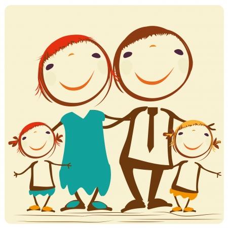 szczęśliwa rodzina z tatą, mamą i parę córek Ilustracja