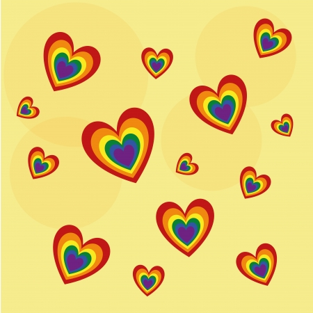 a lot of colored lgbt in a yellow background Vector