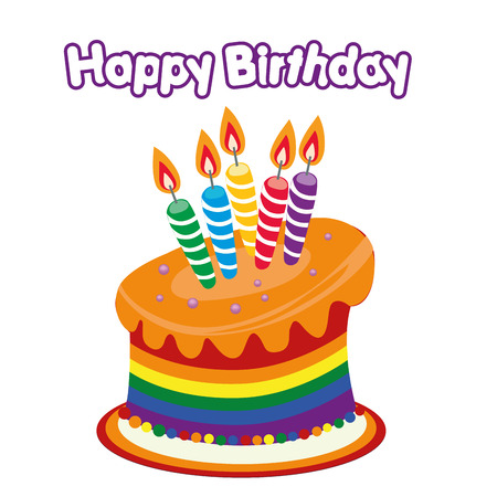 a colored happy birthday cake with some text Vector