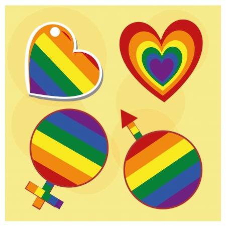 genders: four color symbols like hearts, man and woman genders