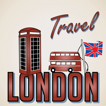 a london icon with some text, bus and a phone Vector