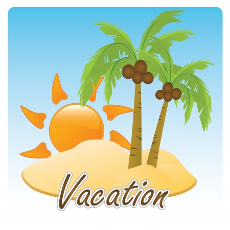 a beautiful beach with a pair of palm trees Vector
